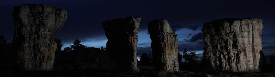 rock pillars at sunset