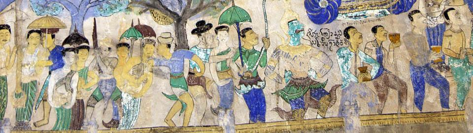 temple mural painting of a parade