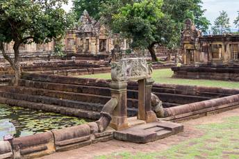 pond in fron tof Khmer temple ruin