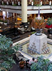 lobby with fountain in the center