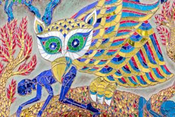 mosaic of owl eating a man