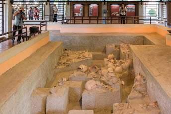excavated burial site