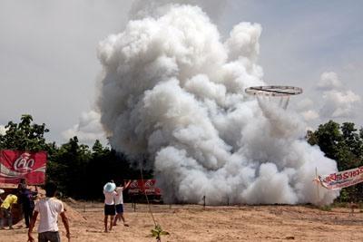 rocket launching amidst much smoke