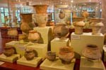 pottery in a museum display case