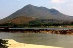 mountain next to river