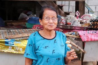 woman eating meatballs