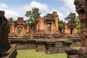 three towers of Khmer ruin