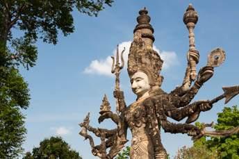 large statue of multi-armed deity