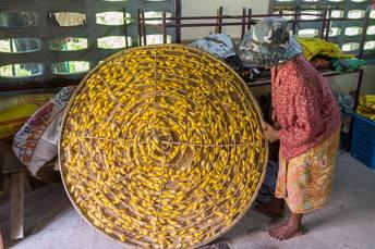 basket full of silk cocoons